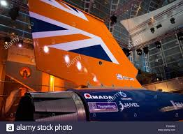 the bloodhound ssc race car exhibited at east winter garden