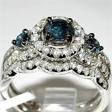 diamond wedding sets blue diamond bridal wedding set 1 3ct 14k white gold halo with