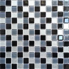 Grey Border Tiles Black Grey Glitter Silver Glass Wall Border Splashback Mosaic