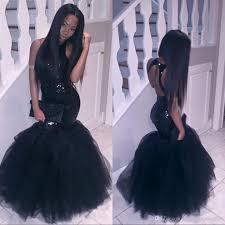 2018 black mermaid african prom dresses evening wear plus