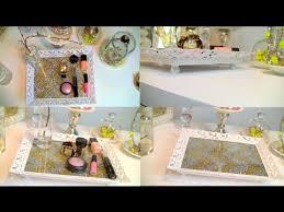 diy vanity perfume tray chevron glitter home decor youtube