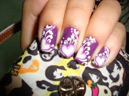 nail art from vietnam u2013 purple nails with hearts and white accents
