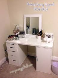 Ikea Vanity Table With Mirror And Bench Diy Makeup Vanity Desk Set Up Alex Ikea Hack Vanity