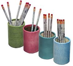 Pencil Holder For Desk Reptile Grain Leather Pen And Pencil Holder