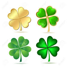 set of four leaf clovers isolated on white st patrick s day