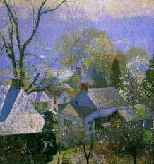 painting the town city town village house art daniel garber springtime in the village 1917
