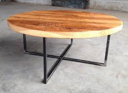 wood metal end table round reclaimed wood coffee table with metal base shellback iron works