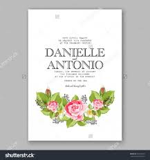 romantic pink rose bridal bouquet wedding invitation template