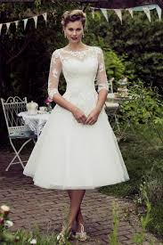vintage lace wedding dresses tea length with sleeves naf dresses