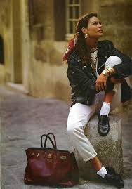 80s hair styles with scarves carre otis scarf in hair leather jacket black loafers in the