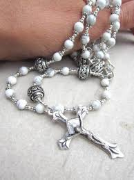 white rosary white rosary in howlite gemstone and silver