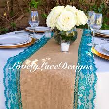 burlap table runner with teal jade lace 14