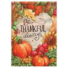 thanksgiving garden flag thankful always