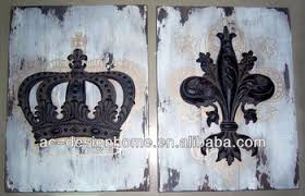 antique black crown fleur de lis polyresin wooden wall