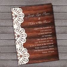 wooden wedding invitations vintage wooden background lace printed wedding invitations ewi269