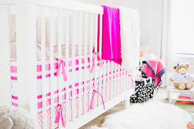 Bright Pink Crib Bedding by Hunter Bell U0027s Modern Eclectic Nursery Project Nursery