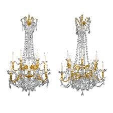 Crystal And Bronze Chandelier Pair Of Baccarat Crystal And Bronze Chandeliers Lighting Since