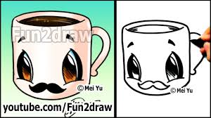 coffee cup with mustache easy cartoon drawing tutorial youtube