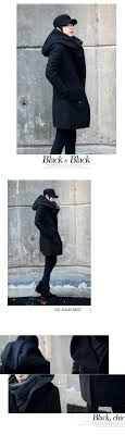 punkool fashion hooded wool trench coat men jackets korea wool
