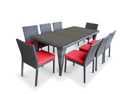 Wicker Patio Dining Sets - 9 piece wicker outdoor patio dining set gray wicker coral red
