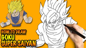 draw goku super saiyan dragon ball easy step step