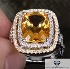 citrine engagement rings two tone cushion cut citrine halo diamond pave unique band