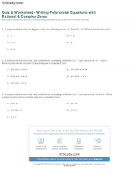 print using rational complex zeros to write polynomial equations worksheet