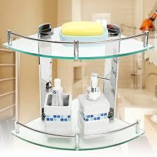 modern glass bathroom bath shower triangular shelf organizer