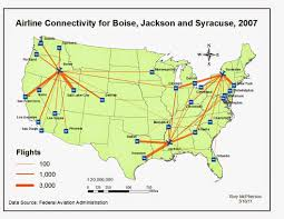 Syracuse Map Map Catalog Gis 3015 Flow Map Airline Connectivity In Boise