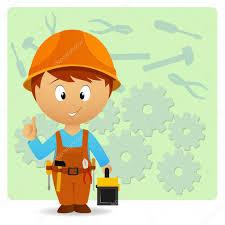 cartoon handyman with tools on industry background u2014 stock vector