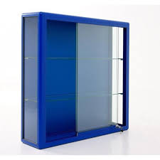 lockable glass display cabinet showcase aluminium wall mounted glass showcase blue frame glass display