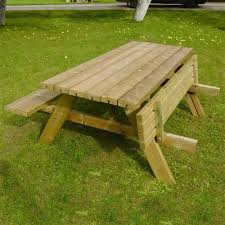 Folding Wood Picnic Table Grange Rectangular Wooden Garden Picnic Table With Fold Up Seats