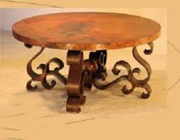 spanish furniture copper coffee table ornate forged metal