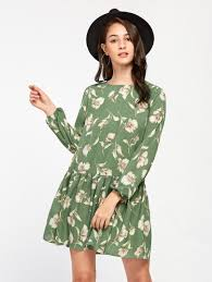 flower dress allover flower print lantern sleeve drop waist dress shein sheinside