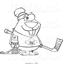 vector cartoon hockey beaver coloring outline