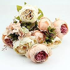 artificial peonies kangnice vintage artificial peony silk flowers bouquet