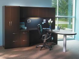 Computer Desk With Tower Storage Mayline At22 Aberdeen L Shaped Desk And Hutch With Storage Tower