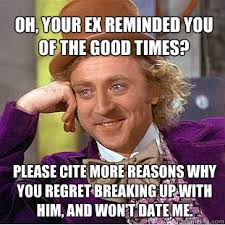Reasons To Date Me Meme - oh your ex reminded you of the good times please cite more