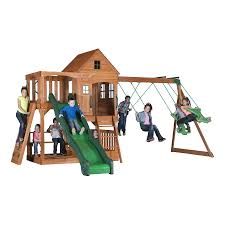 Playground Flooring Lowes by Shop Backyard Discovery Pacific View Residential Wood Playset With