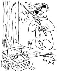 yogi bear fishing picnic basket coloring pages batch coloring