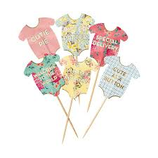 baby shower floral baby grow cake toppers by postbox party