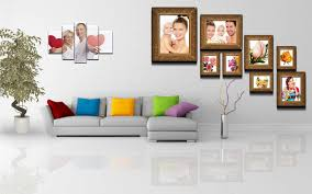 sweet arrangement of family pictures in minimalist living room
