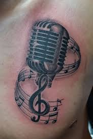 drawn music notes radio microphone pencil and in color drawn