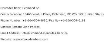 contact number for mercedes mercedes richmond bc service center phone number description