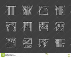 white flat line curtains decoration icons stock illustration