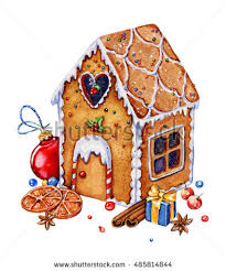 gingerbread house decorations isolated on stock