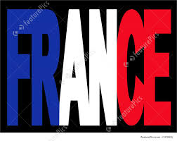 illustration of france text with flag