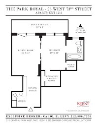 carol e levy real estate the park royal 23 west 73rd street view floor plans
