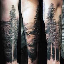 black and grey nature tree design for forearm s