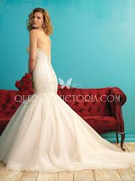 embroidered drop waist classic trumpet strapless sweetheart